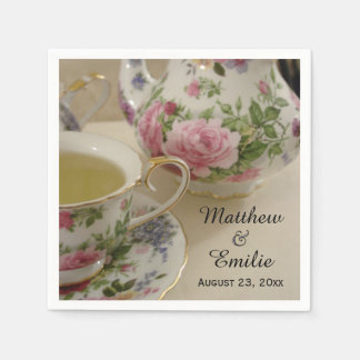 Pretty Floral Teapot and Teacup Napkins Standard Cocktail Napkin