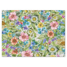 Pretty Floral Tissue with Wood Image Background Tissue Paper