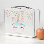 """Pretty Floral Unicorn Metal Lunch Box<br><div class=""""desc"""">Lunch Box. Get ready with this back to school stylish lunch box. This Magical Unicorn will make any young girl excited about having lunch with her friends at school. 100% Customizable. Ready to Fill in the box(es) or Click on the CUSTOMIZE button to add, move, delete or change any of...</div>"""
