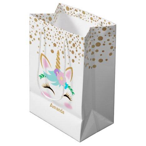 Pretty Floral Unicorns Medium Gift Bag