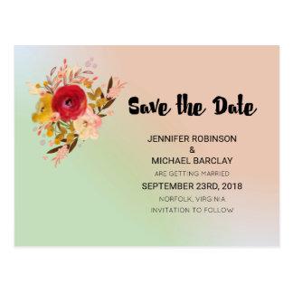 Pretty Floral Watercolor Bouquet  Save The Date Postcard