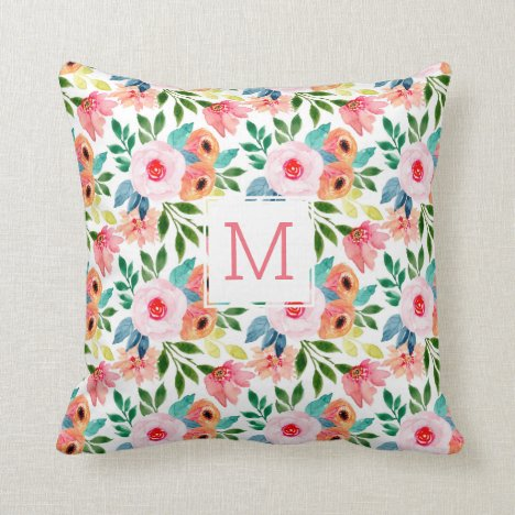 Pretty Floral Watercolor Flowers Monogram Throw Pillow