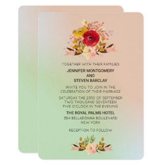 Pretty Floral Wildflowers in Watercolor Wedding Card