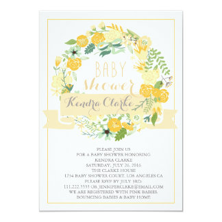 PRETTY FLORAL WREATH | BABY SHOWER INVITATION