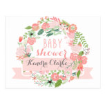 PRETTY FLORAL WREATH | BABY SHOWER INVITATION POSTCARDS