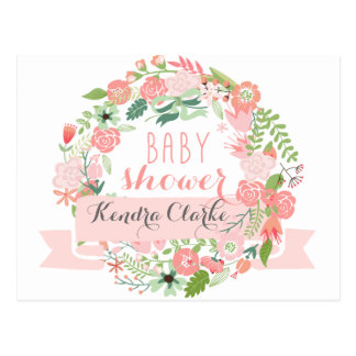 PRETTY FLORAL WREATH | BABY SHOWER INVITATION POSTCARD