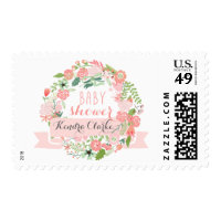 PRETTY FLORAL WREATH | BABY SHOWER POSTAGE