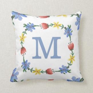 Pretty Floral Wreath Custom Monogram