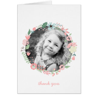 Pretty Floral Wreath Custom Photo Thank You Notes Greeting Cards