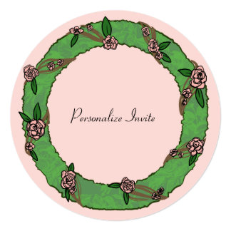 Pretty Floral Wreath, Flower Arrangement on Pink Card