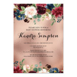 Pretty Floral Wreath Rose Gold Baby Shower Invitation