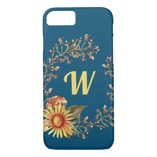 Pretty Floral Yellow Sunflower Wreath iPhone 8/7 Case