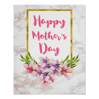 Pretty Florals on White Marble Mother's Day Poster