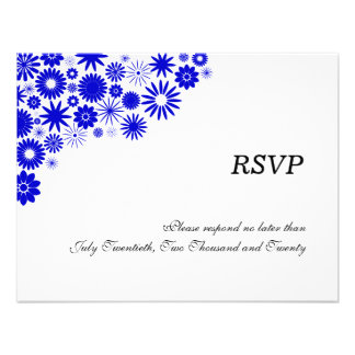 Pretty Florals Royal Blue RSVP / Reply Cards Custom Invitation