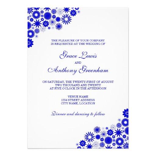"""Pretty Florals Royal Blue Wedding Invitation 5"""" X 7 ..."""