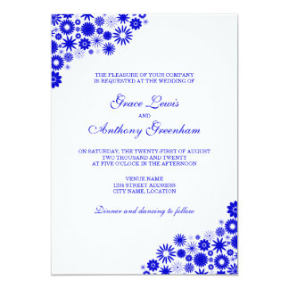 Pretty Florals Royal Blue Wedding Invitation