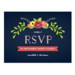 Pretty Florals | Rustic Chic Wedding RSVP Postcard