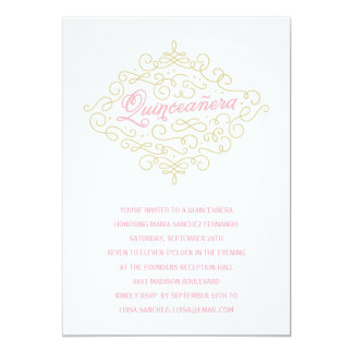 Pretty Flourish Quinceanera Party Card