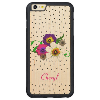 Pretty Flower And Spots Design Carved Maple iPhone 6 Plus Bumper Case