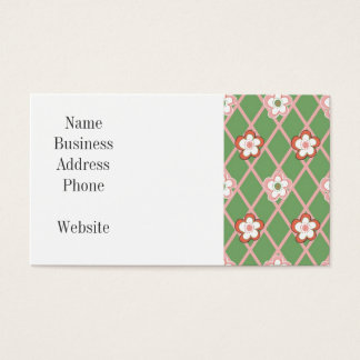 Pretty Flower Argyle Pattern Gifts Green Pink Business Card