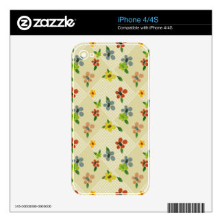 pretty flower argylle pattern phone skin iPhone 4 decal