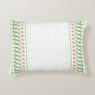 Pretty flower art border of stylised tulips accent pillow