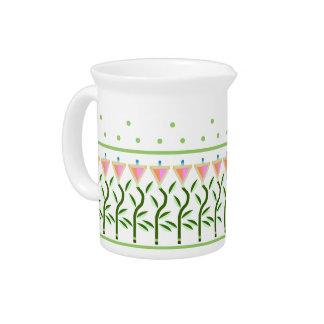 Pretty flower art border of stylised tulips beverage pitcher