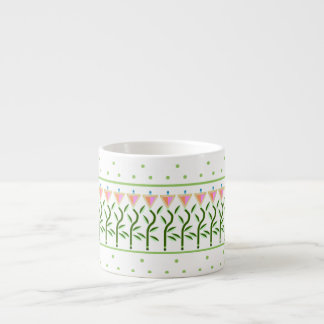 Pretty flower art border of stylised tulips espresso cup