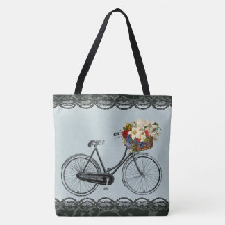 pretty flower bike mint green tote bag