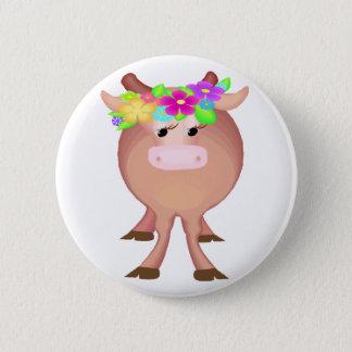 Pretty Flower Cow Button