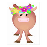 Pretty Flower Cow Postcard