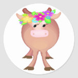 Pretty Flower Cow Round Sticker