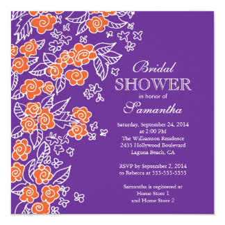 Pretty Flower Modern Purple & Orange Bridal Shower Card