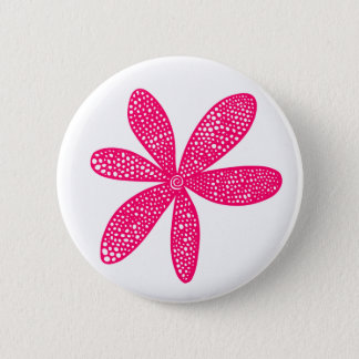 Pretty Flower - Neon Red on White Pinback Button