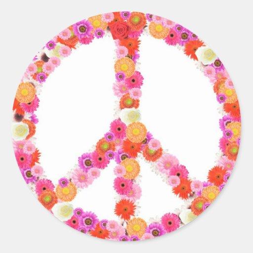 Pretty Flower Peace Sign Classic Round Sticker