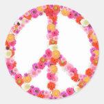 Pretty Flower Peace Sign Round Sticker