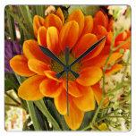 Pretty Flower Square Wallclocks