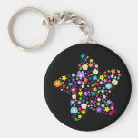 Pretty Flower Star Basic Round Button Keychain
