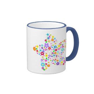 Pretty Flower Star Ringer Coffee Mug