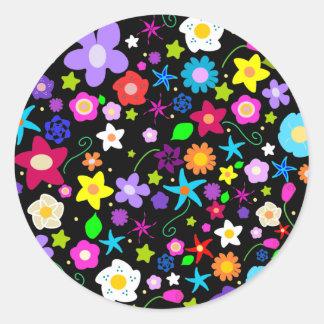 Pretty Flower Star Round Stickers