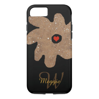 pretty flower with heart, name & initial iPhone 7 case