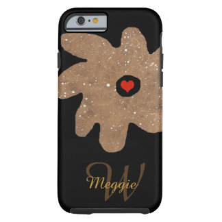 pretty flower with heart, name & initial tough iPhone 6 case
