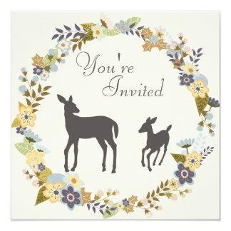 Pretty Flower Wreath Deer Baby Shower Invitation