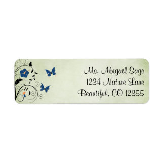 Pretty Flowers and Butterflies Address Label