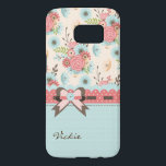 "Pretty Flowers and Polka Dots Samsung S7 Case<br><div class=""desc"">Lovely Samsung Galaxy S7 case, with a coral pink and robin&#39;s egg blue on ivory floral pattern, across the top of the case. A small brown on robin&#39;s egg blue polka dot pattern, covers the bottom of the case, with cute graphics of a coral pink polka dot scalloped ribbon and...</div>"