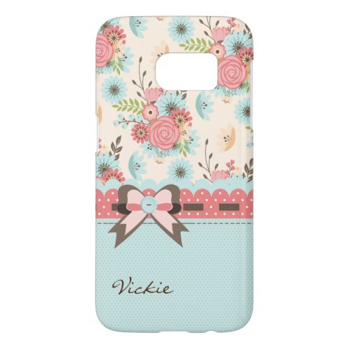 Pretty Flowers and Polka Dots Samsung S7 Case Phone Case
