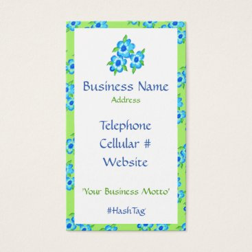 Professional Business Pretty Flowers And Stripe Business Card