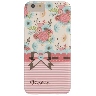 Pretty Flowers and Stripes iPhone 6 Plus Case