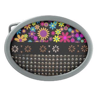 Pretty Flowers And Studs Pattern Belt Buckle
