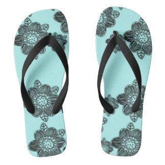 Pretty Flowers Aqua Flip Flops